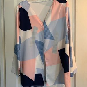 V-neck Button Blouse with Geometric Pattern